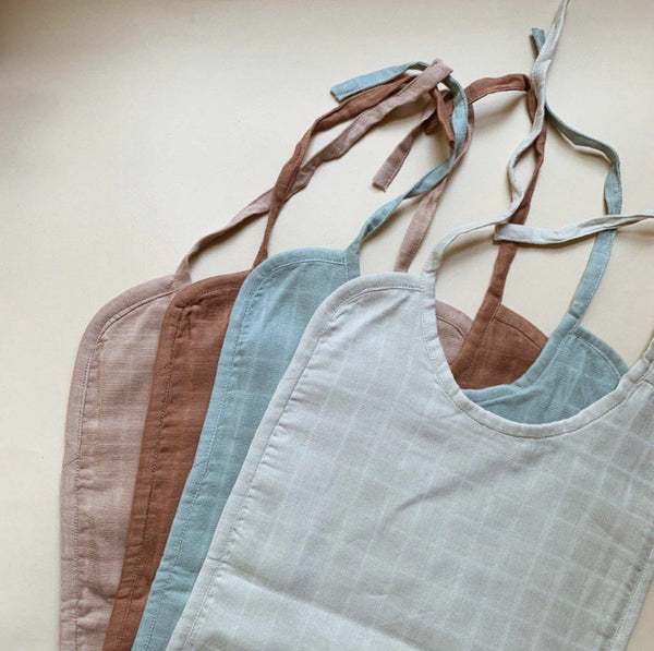 Baby Muslin Bib 2-pack Ocean Grid House of Mint