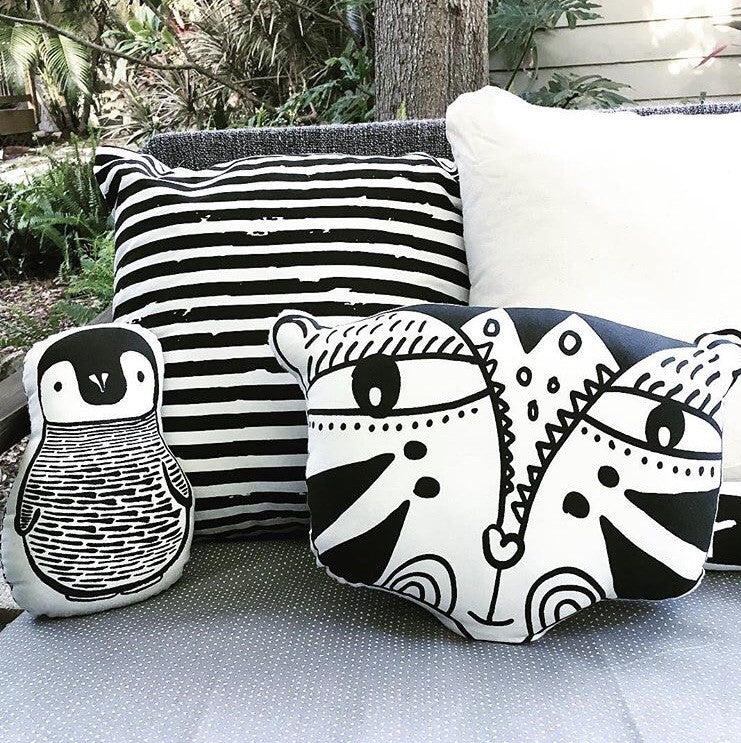 Nursery Friends - Penguin Pillow-Accessories-Wee Gallery-House Of Mint