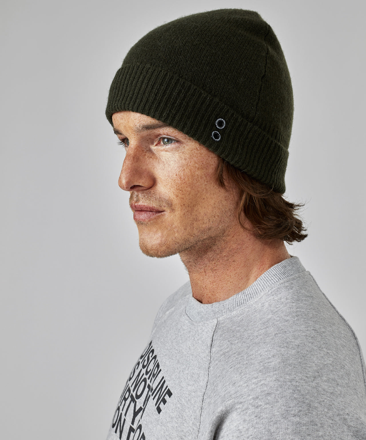 Cashmere Beanie - army green
