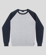 Cotton Cashmere Baseball Sweater - navy / grey melange