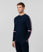 Cotton Cashmere Sweatshirt w Side Stripes - navy