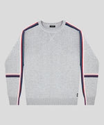 Cotton Cashmere Sweatshirt w Side Stripes - grey melange