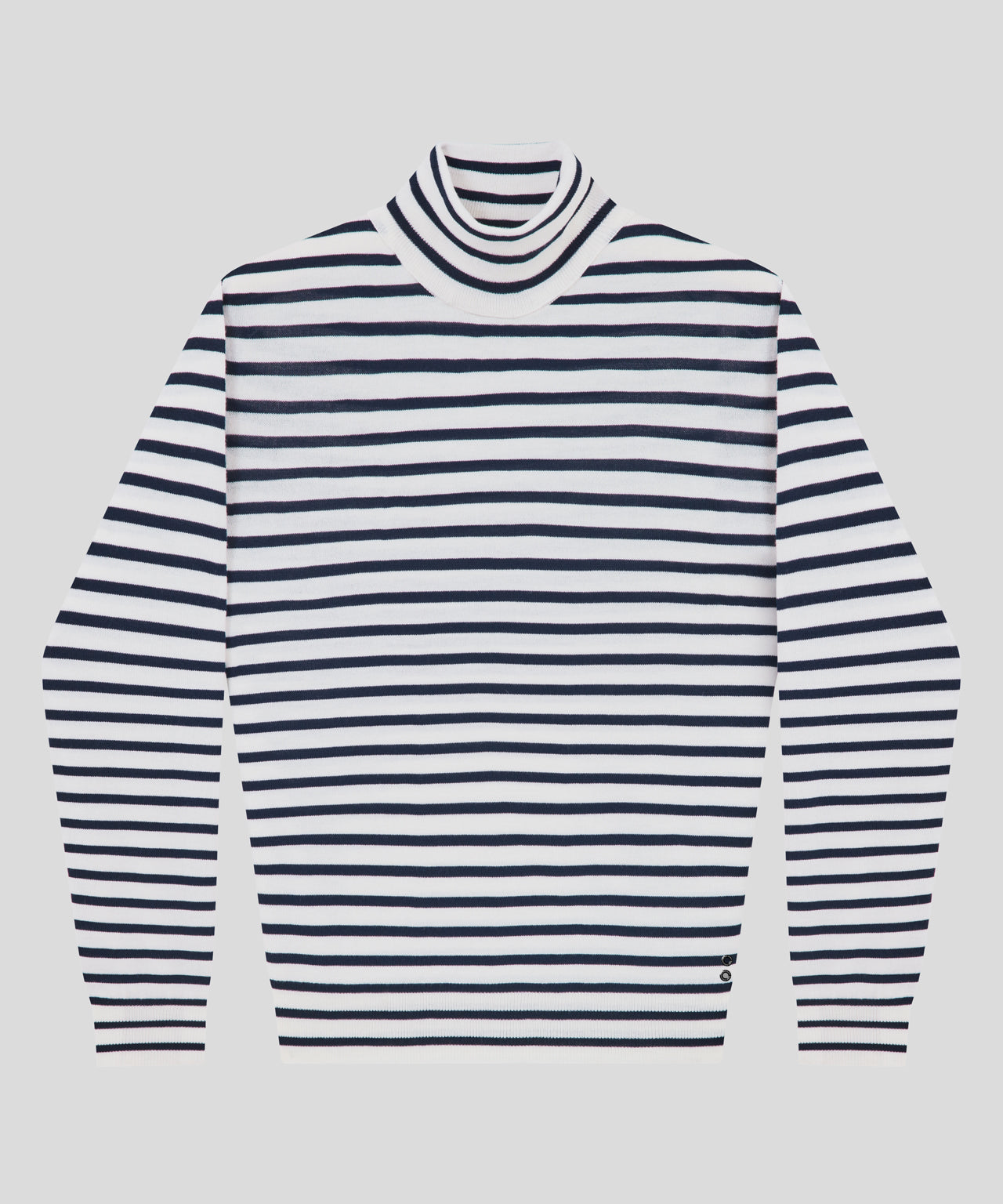 Striped Turtleneck Sweater - navy/off white