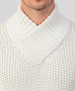 Shawl Sweater in Organic Cotton - off white