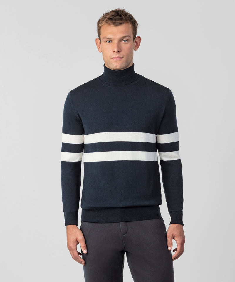 Merino Wool Rollneck - navy