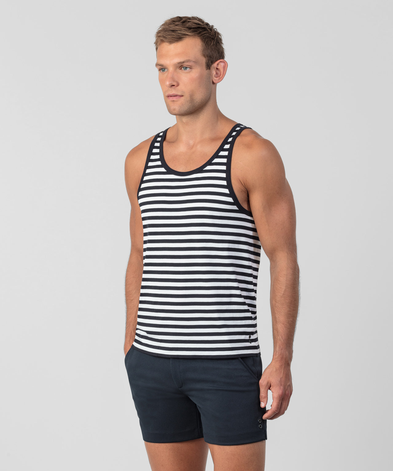Striped Tank Top - navy / white