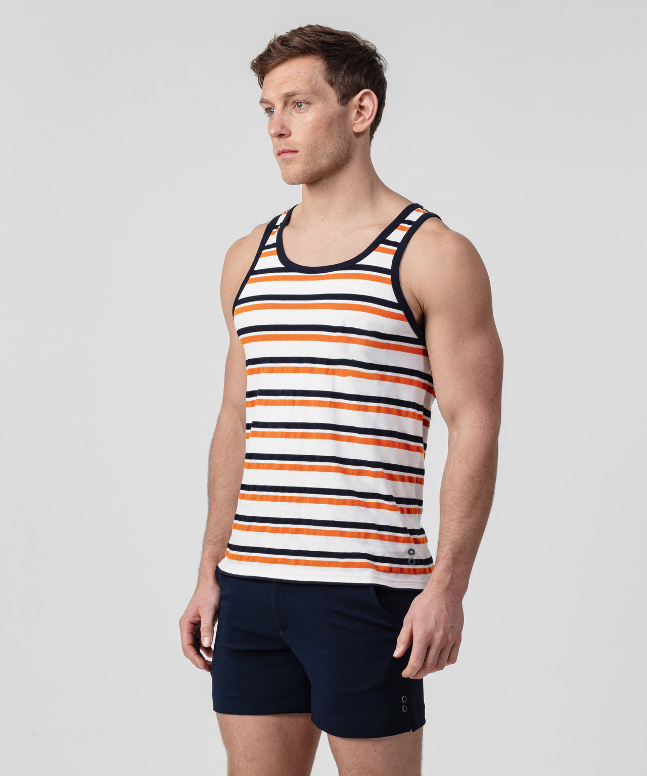 Tank Top Piqué Thin Stripes - navy/sunset orange/white