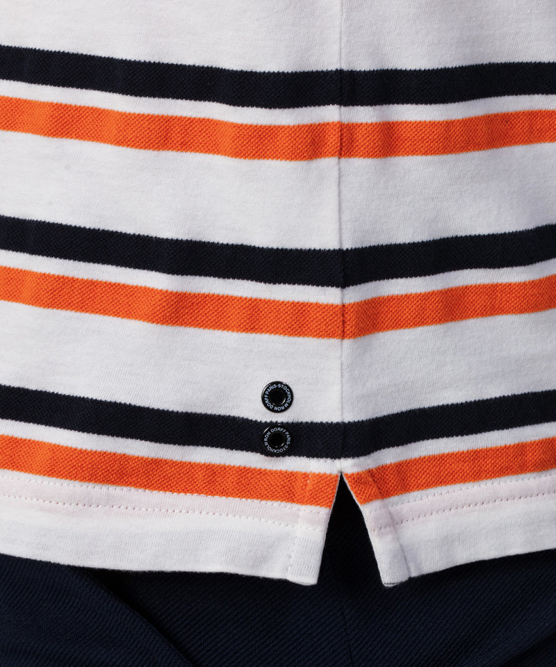 T-Shirt Piqué Thin Stripes - navy/sunset orange/white