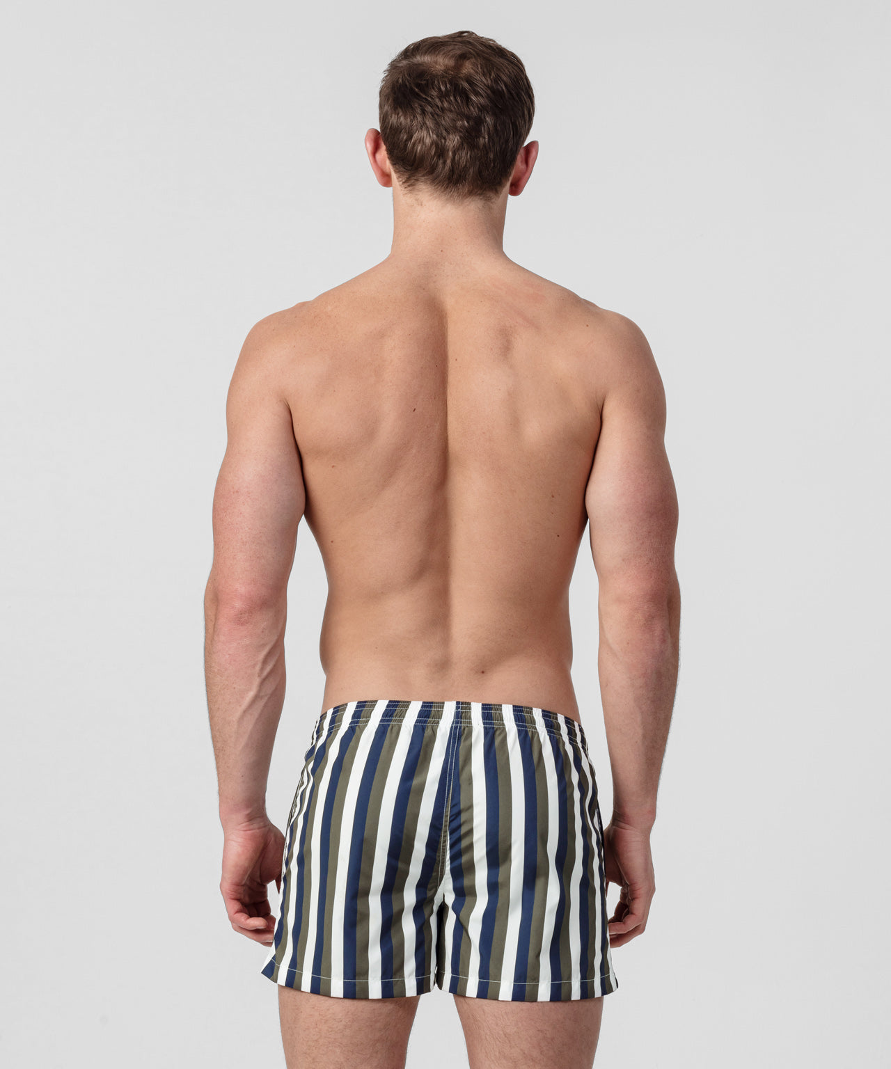 Striped Swim Shorts - white/navy/green camp