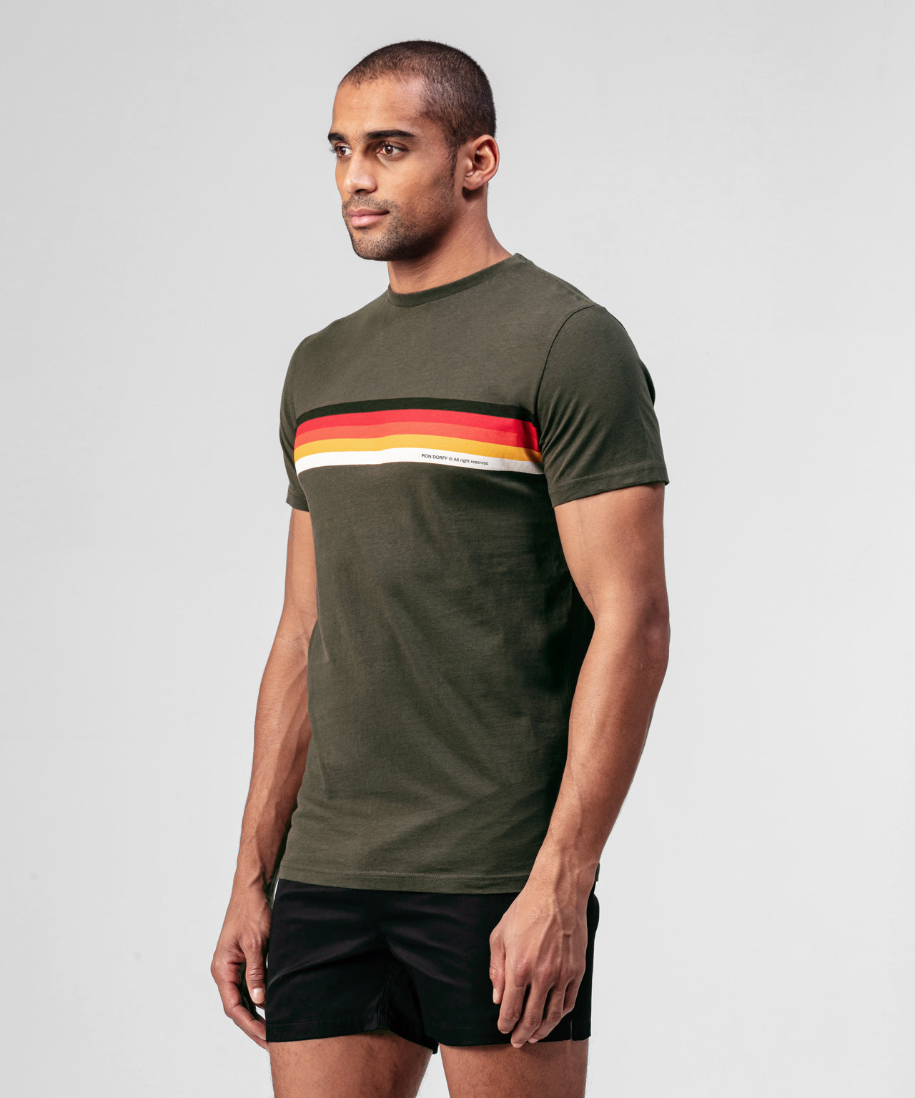 T-shirt Chest Stripes - green camp