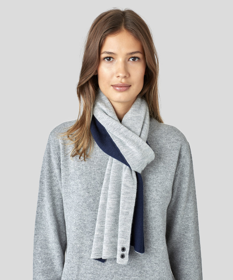 Cashmere Scarf His For Her - navy / grey melange