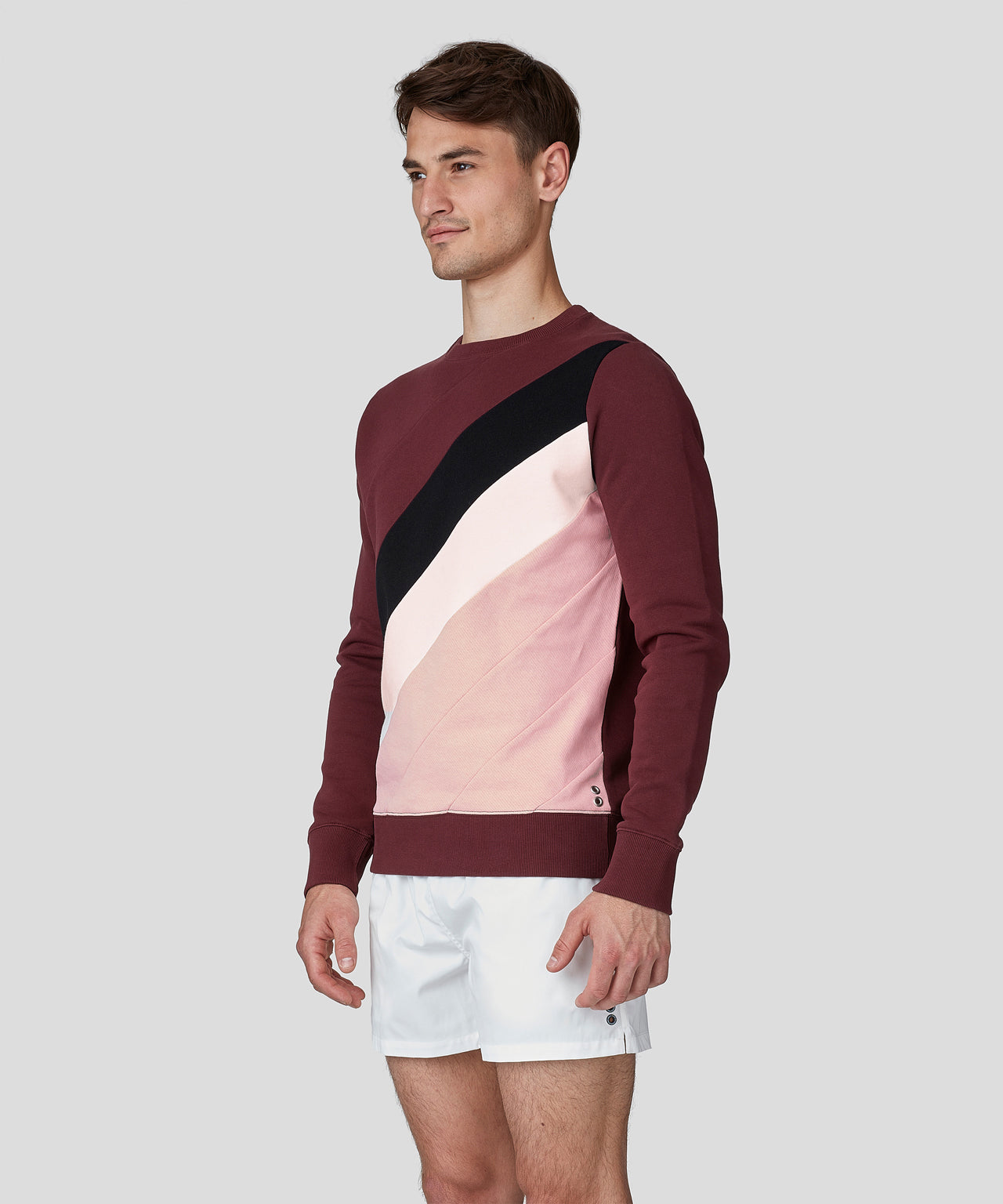 Sweatshirt Diagonal Lines - burgundy red