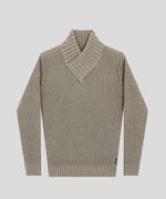Shawl Sweater in Organic Cotton - frozen khaki