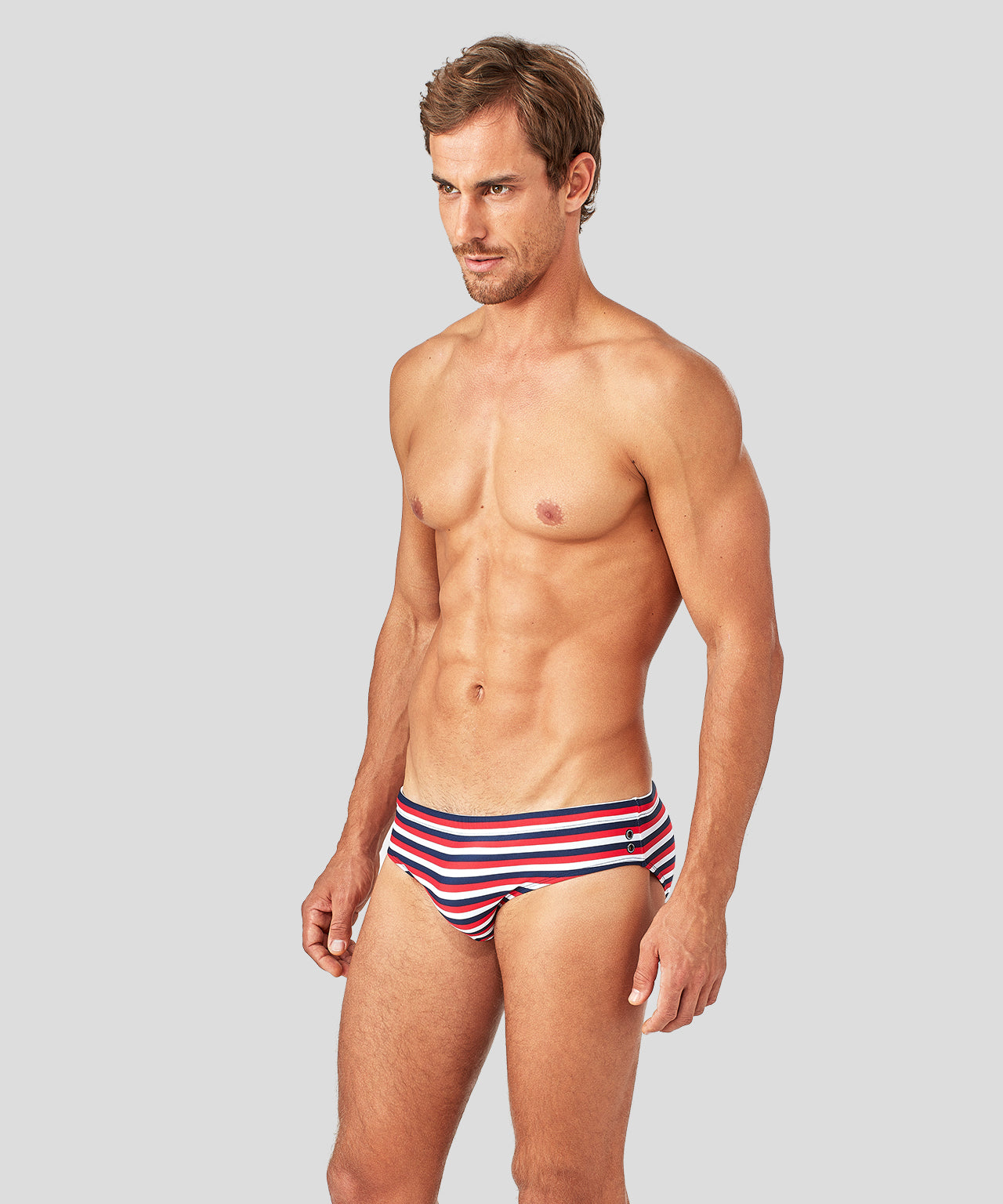 Swim Trunks Horizontal Thin Stripes - navy/red/white