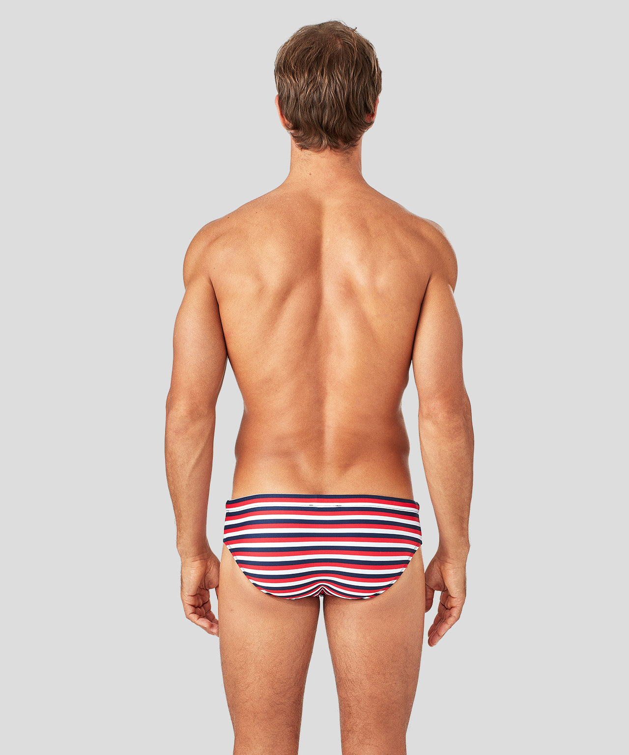 Swim Briefs Horizontal Thin Stripes - navy/red/white