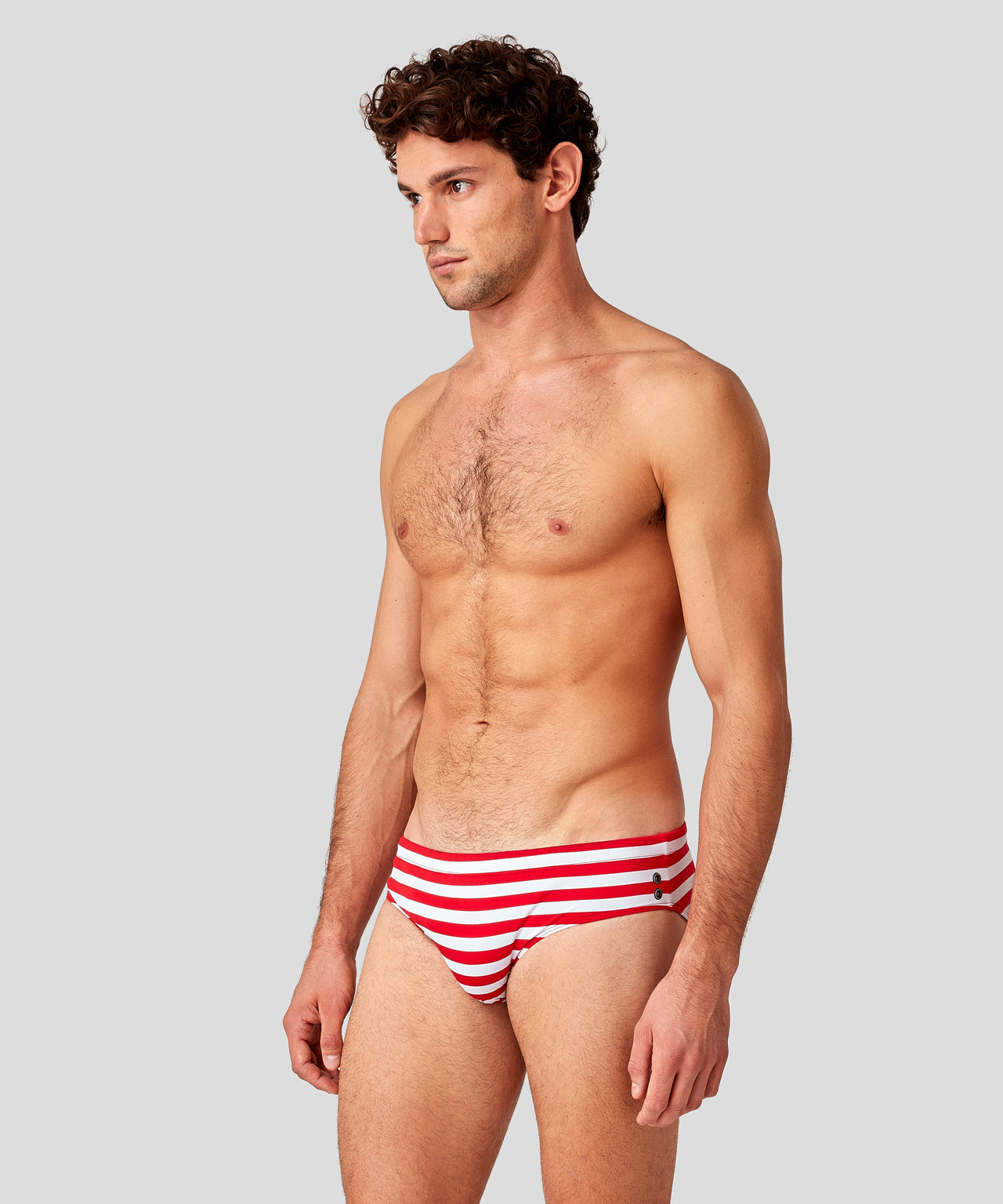Swim Trunks Horizontal Stripes - red/white
