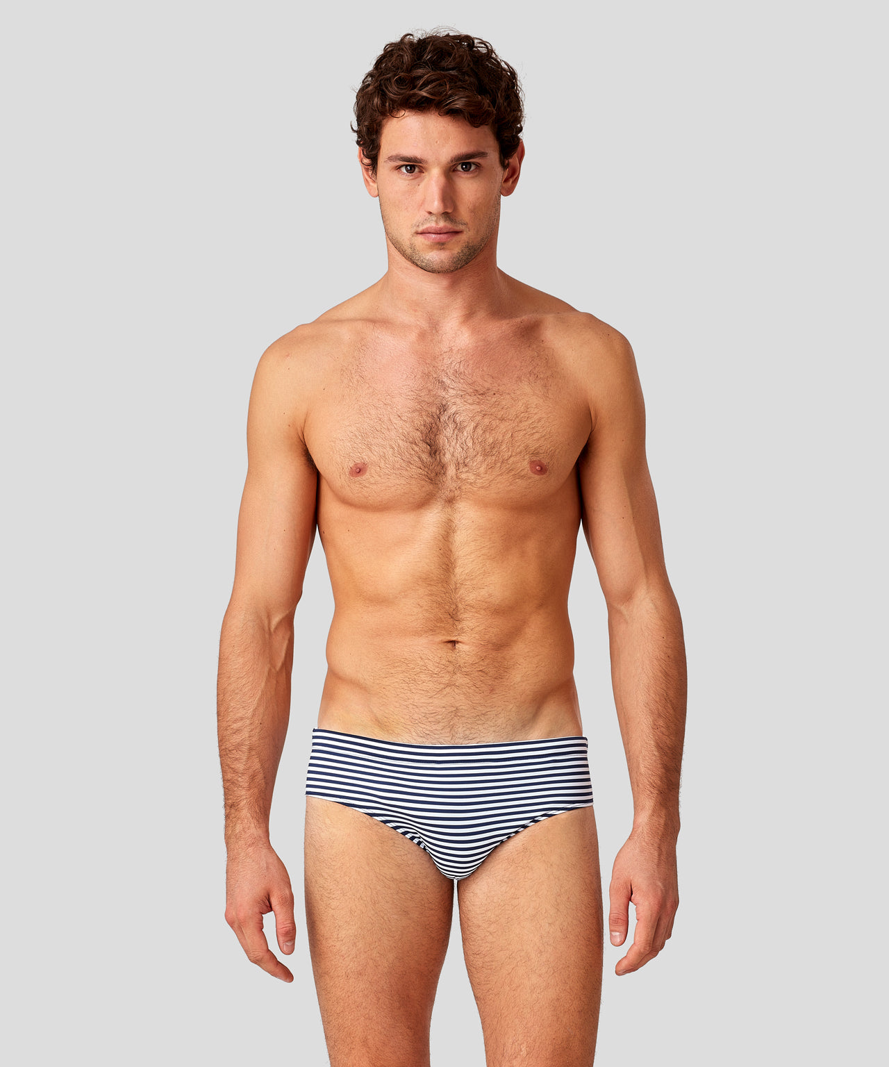 Swim Briefs Horizontal Thin Stripes - navy/white