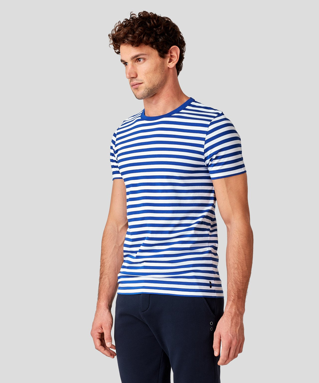T-Shirt Eyelet Edition Stripes - electric blue/white
