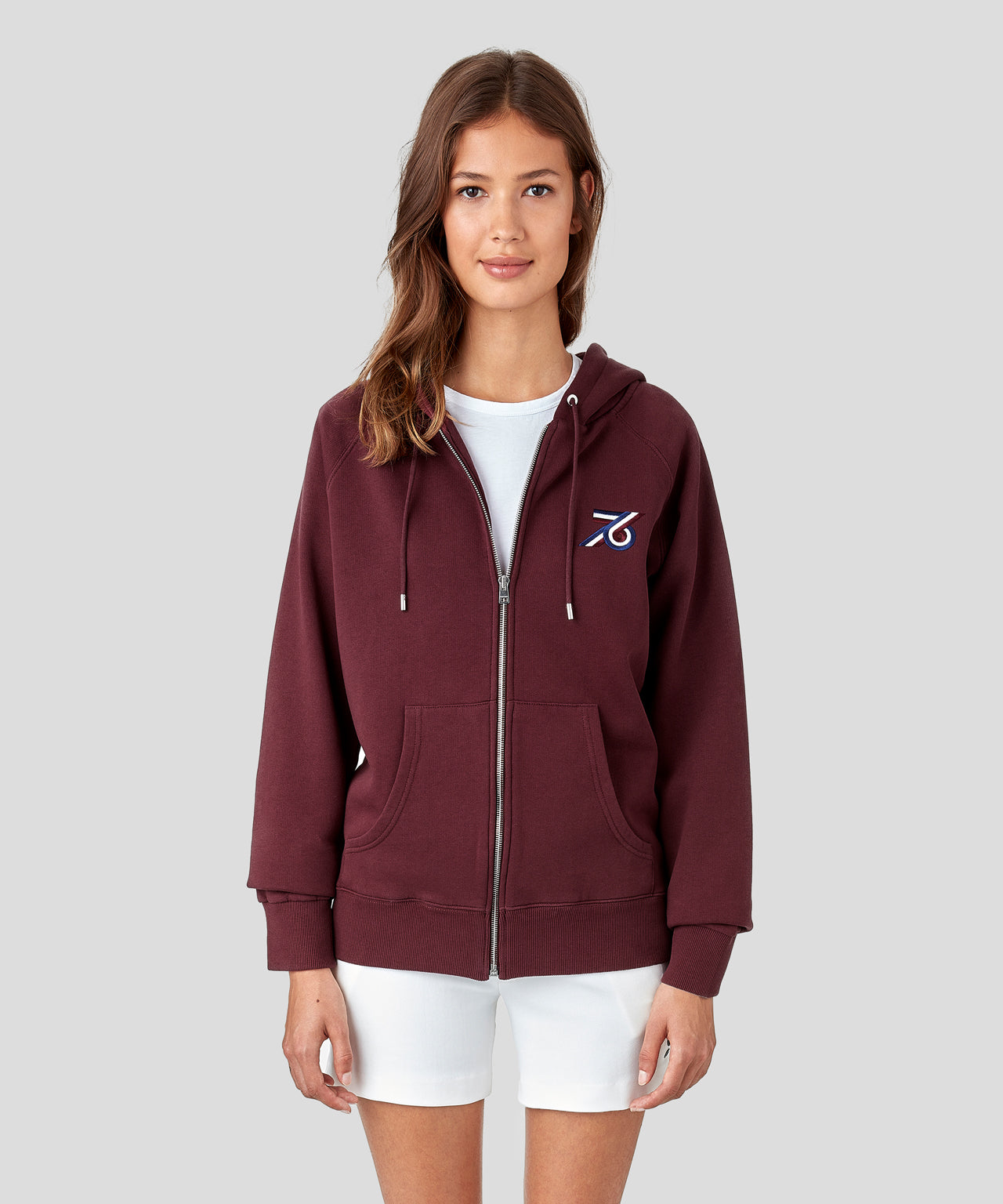 Zipped Hoodie 76 His For Her - burgundy red