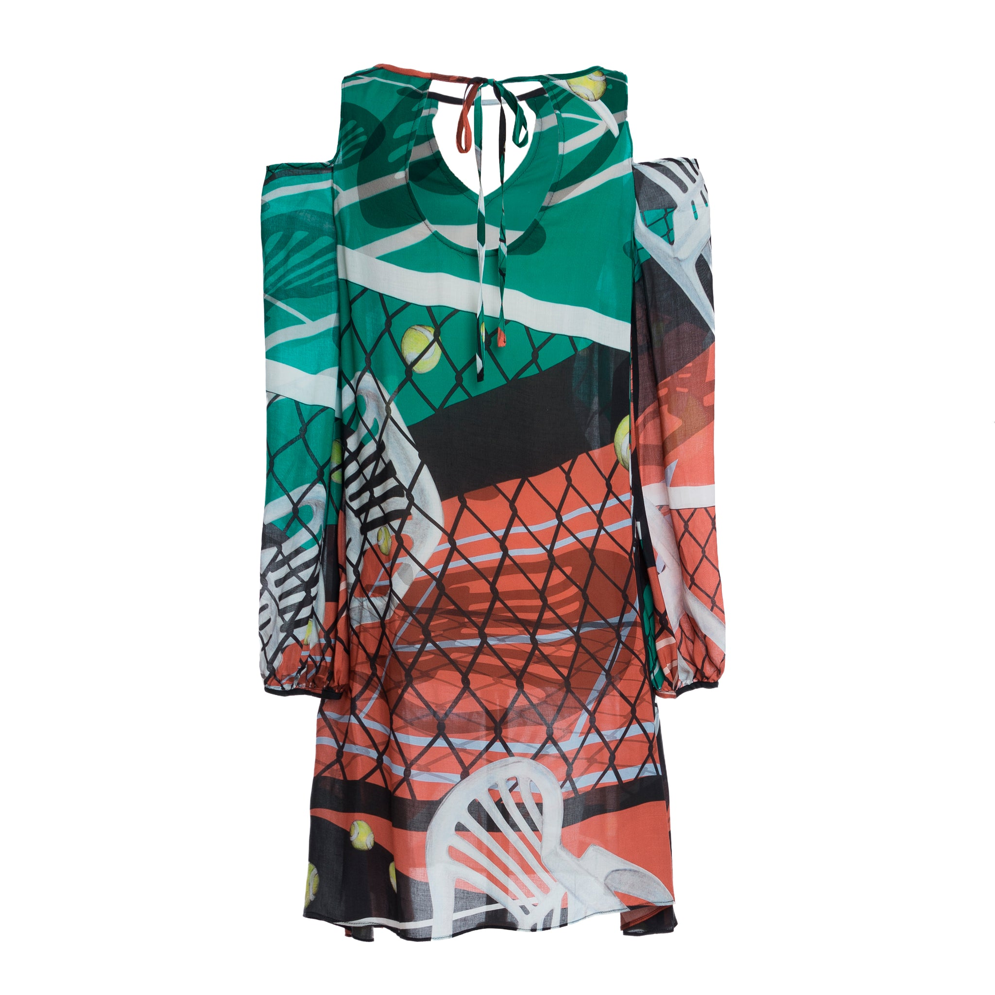 Cibulkova Court Print Cold Shoulder Dress