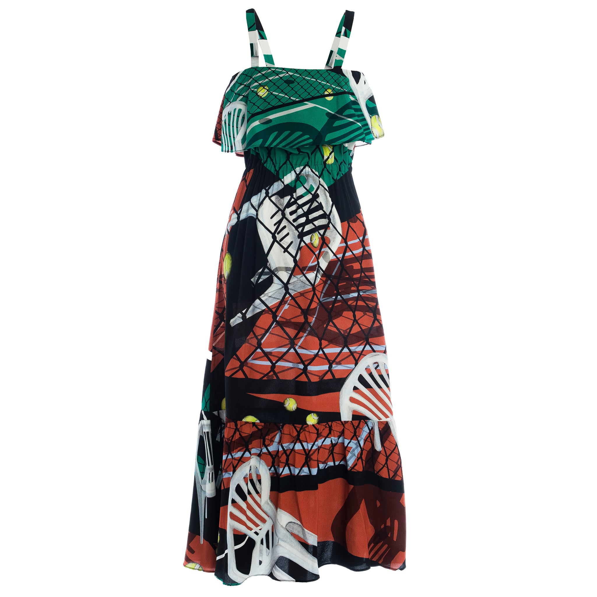 Totka Court Print Ruffled Dress