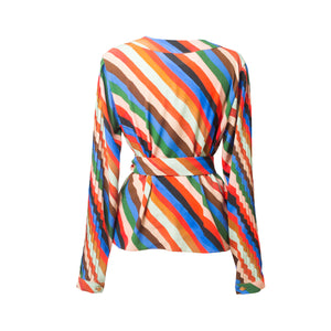 BUGYI Stripes Print Overlap Pleat Top