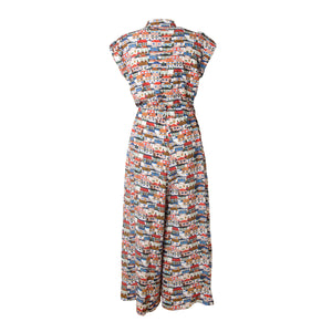PAKS Small Houses Print Mandarin Collar Jumpsuit