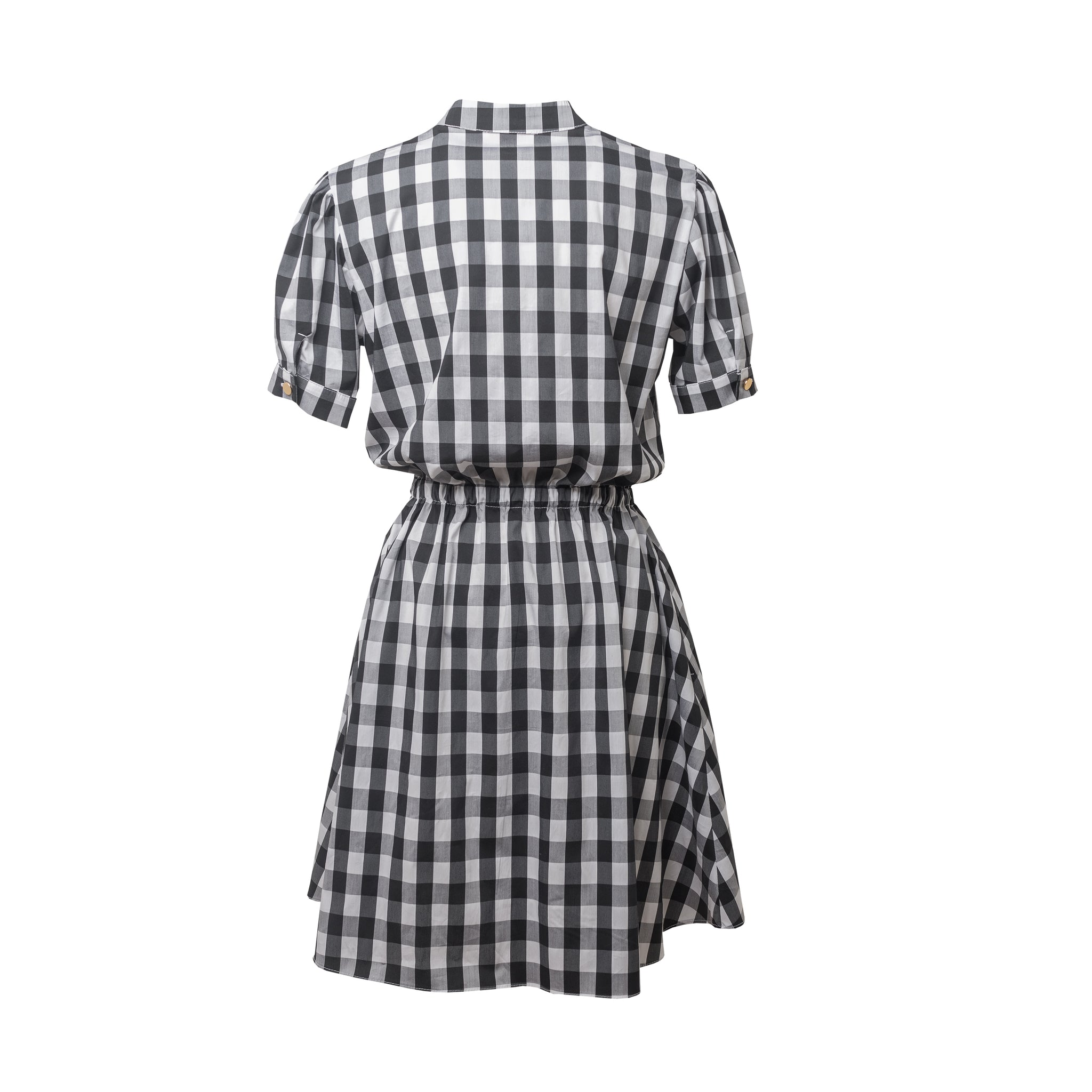 Monor Check Double Button Skirt Dress