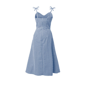 ERD Blue & White Overlap Skirt Midi Dress