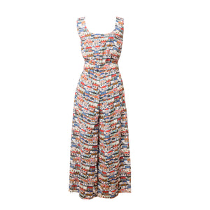 ZIRC Small Houses Print Sleeveless Jumpsuit