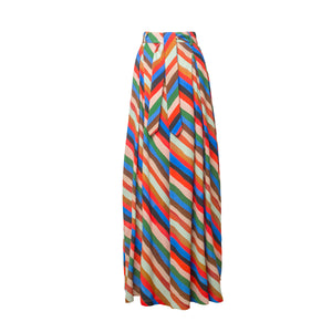 MISZLA Stripes Print Wide Leg Trousers