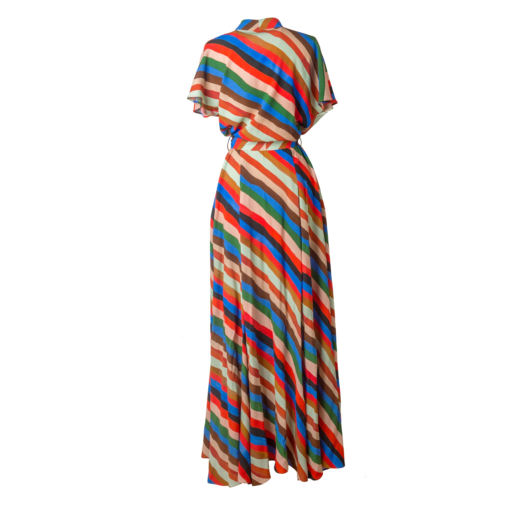 GYAL Stripes Print Kimono Multi Slits Dress