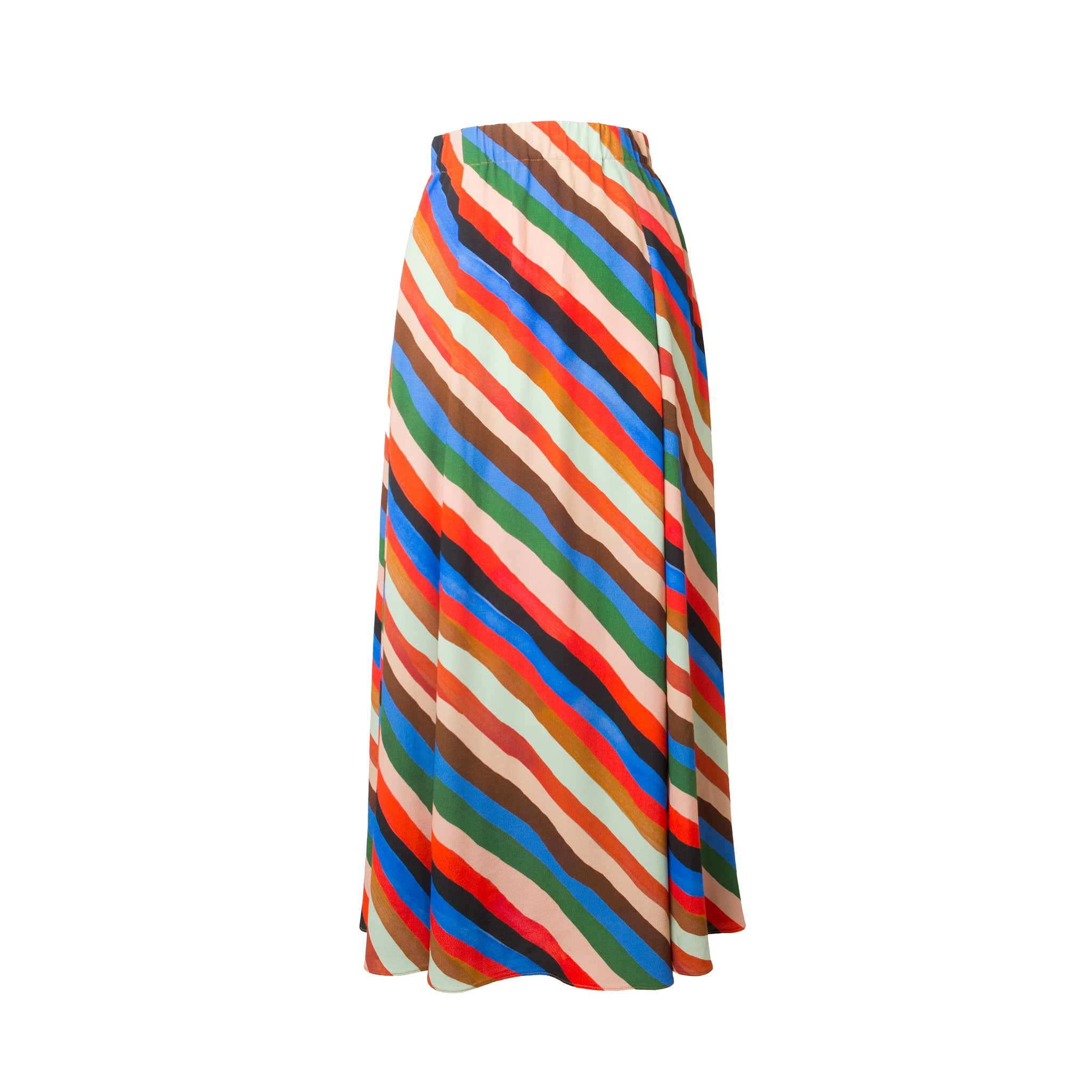 VAC Stripes Print Multi Slits Midi Skirt