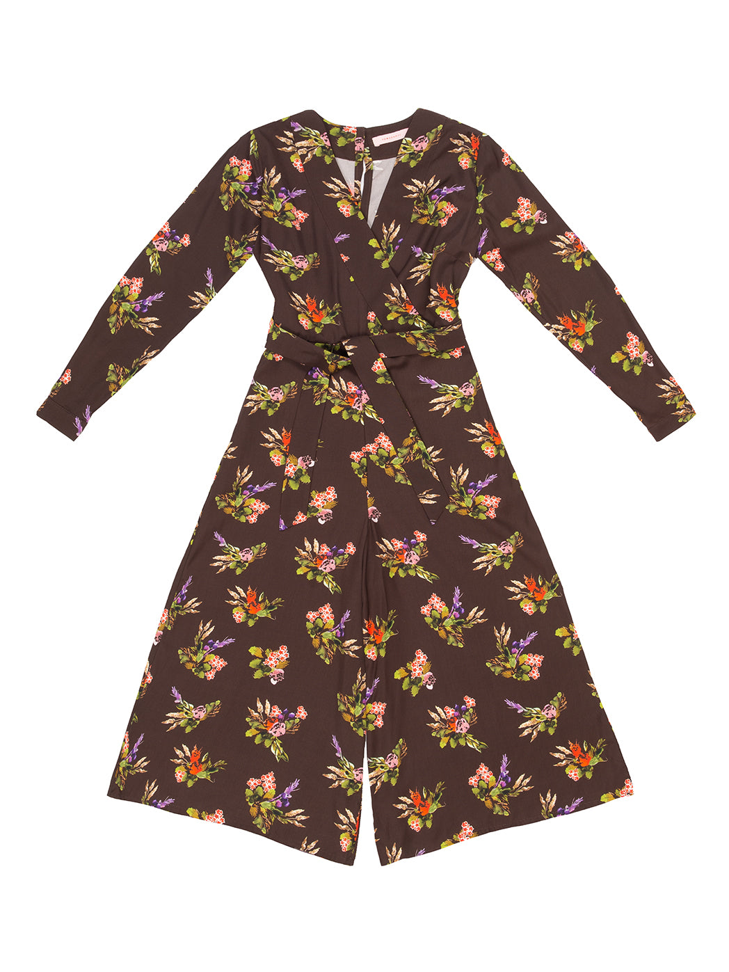 OBUDA Lame Flower Print Jumpsuit