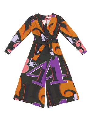 OBUDA Grid Numbers Print Jumpsuit