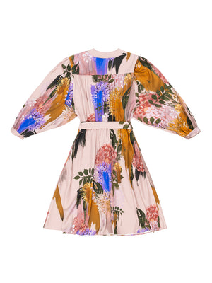 MARTA Blurred Flower Print Tie Dress