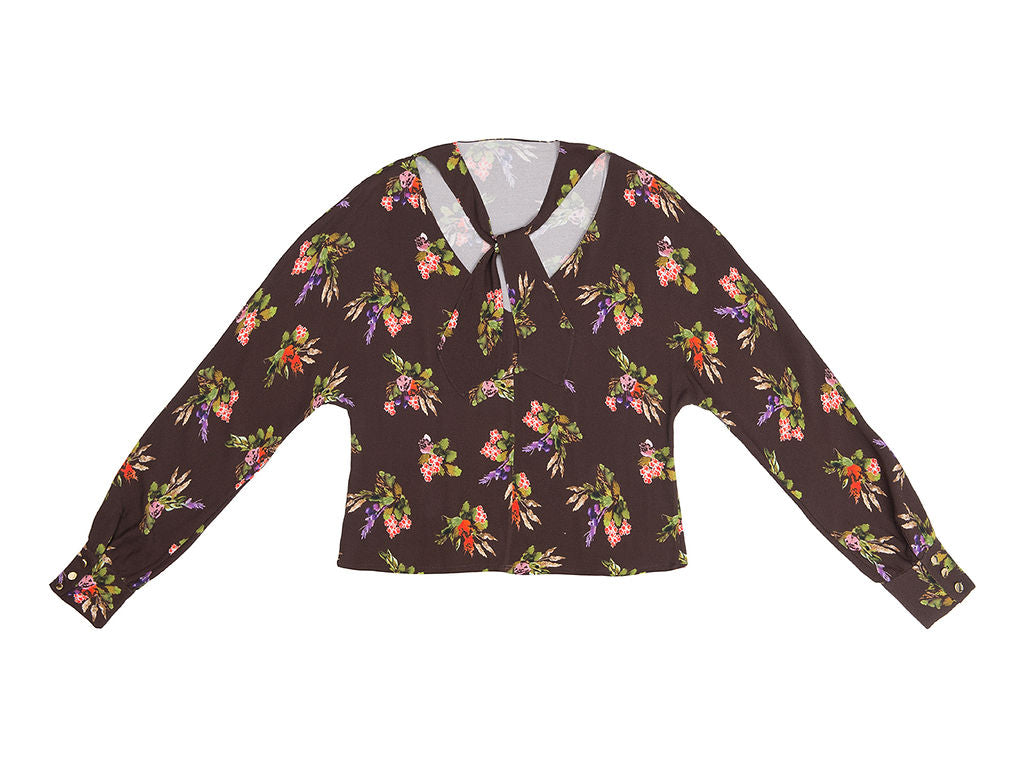 PIROSKA Lame Flower Print  open back tie blouse