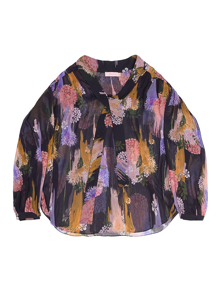 GRETA   Gloomy  Flower  Print Sheer Blouse