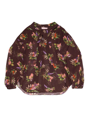 GRETA Lame Flower Print Sheer Blouse