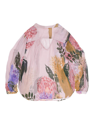 GRETA Blurred Flower Print Sheer Blouse
