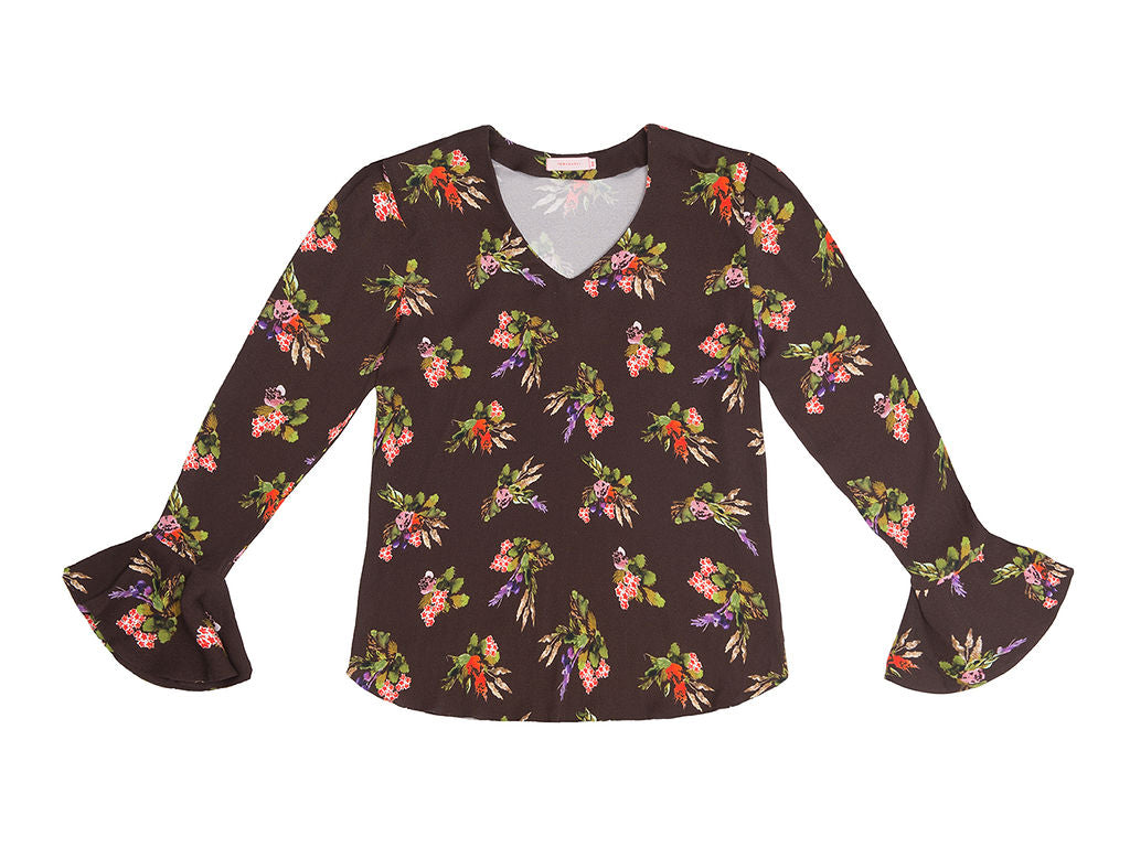 SVETLANA Lame Flower Print V neck Cone Sleeve  Top