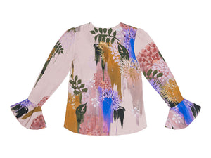 Svetlana Blurred Flower Print V neck Cone Sleeve  Top