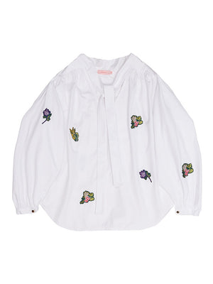 GRETA  Peasant Blouse With Embroidery Detail