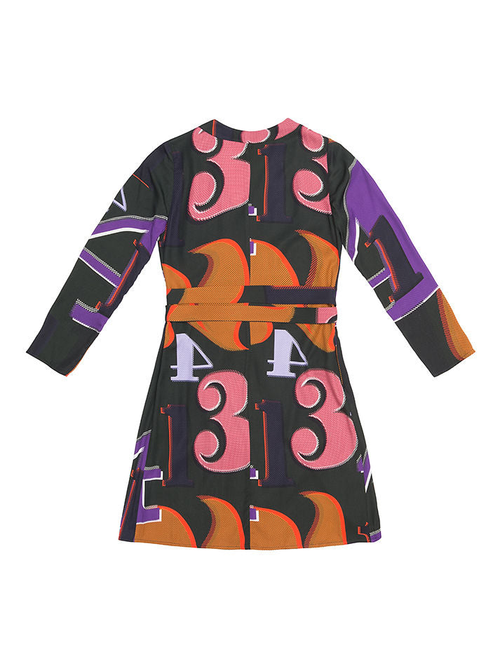 TEREZ  Grid Numbers  Print Wrap Dress
