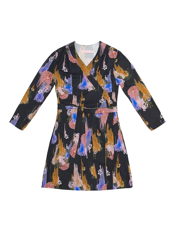 TEREZ  Gloomy Flower  Print Wrap Dress