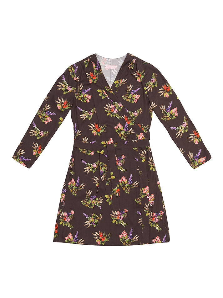 TEREZ  Lame Flower Print Wrap Dress
