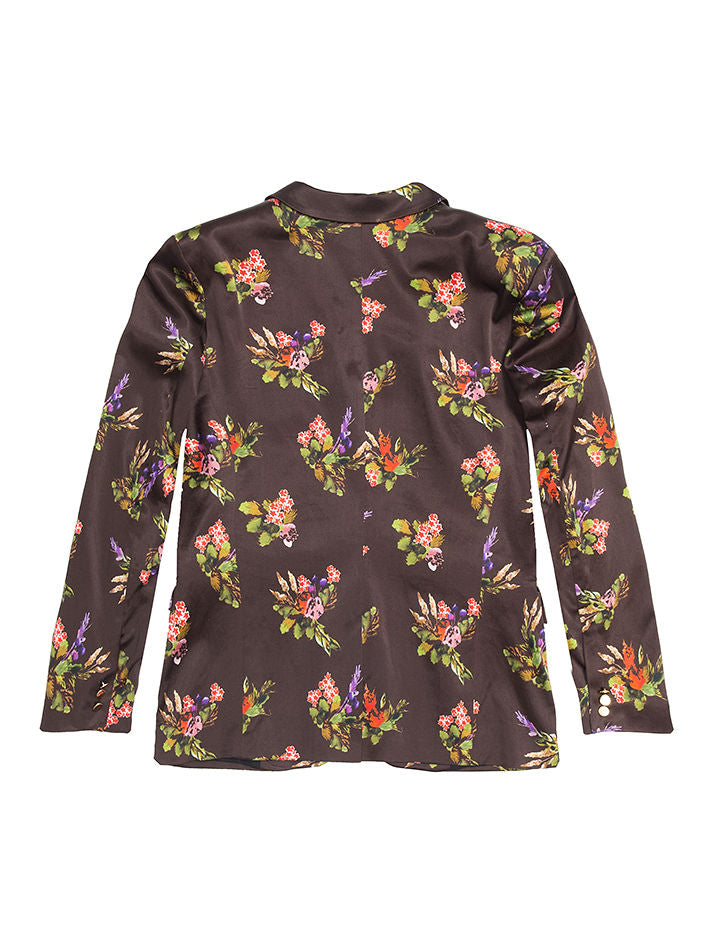 Mara Lame Flower Print Satin Jacket