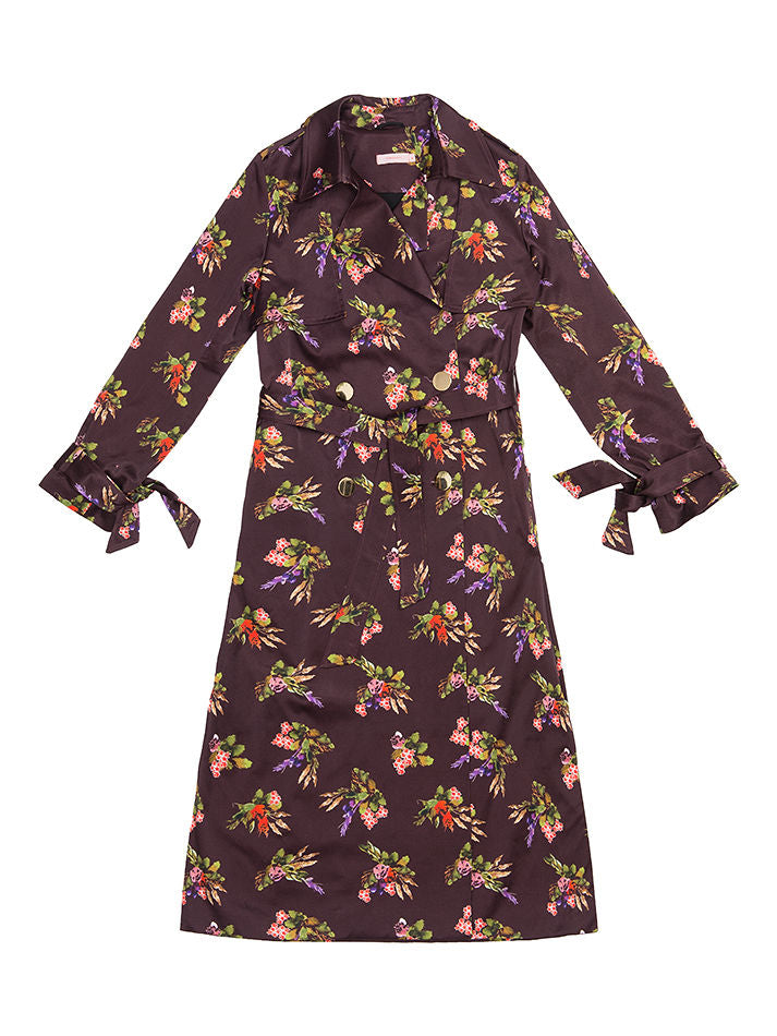 GEZA  Lame Flower Print Trench Coat