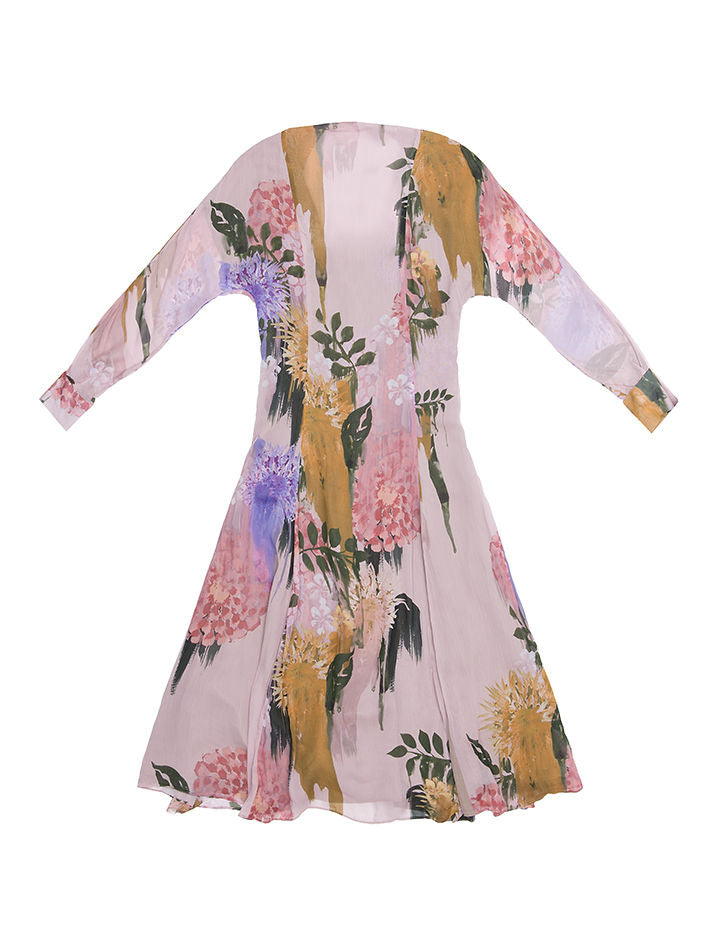 MARGIT Blurred Flower Print  Open Back Tie  Midi  Dress