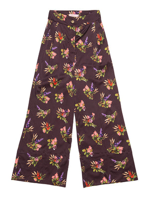 HELGA  Lame Flower Print Trousers